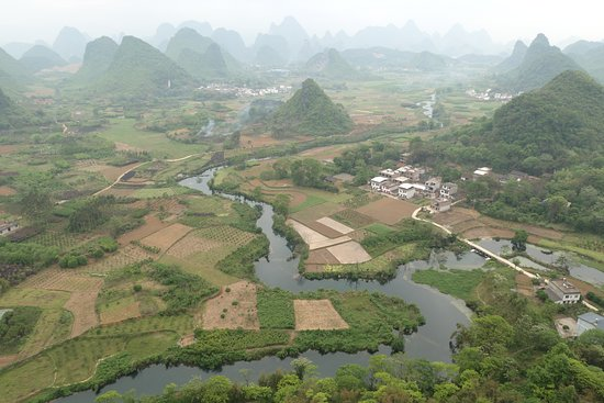 Yangshuo County, China: View from Wu Zhi Shan, Cui Ping village, near town of Putao, N of Yangshuo