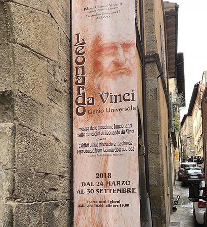 Arezzo, إيطاليا: Molto suggestivo il manifesto della mostra ritraente l'autoritratto di Leonardo Da Vinci.
