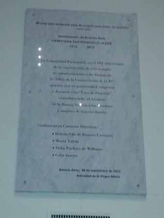 Parroquia San Francisco Javier: Placa Recordatoria-  Palermo- Bs.As. 2018.