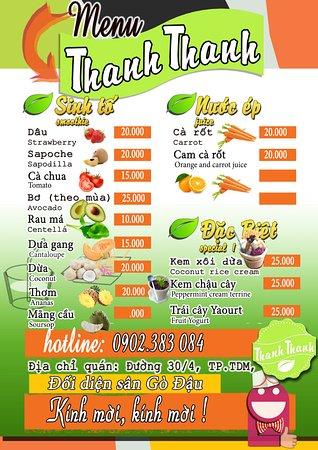 Menu Picture Of Thanh Thanh Juice Shop Thu Dau Mot Tripadvisor
