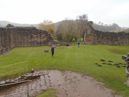 Inside Skenfrith Castle in the rain!!!
