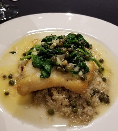 Peoria, IL: Halibut with caper sauce
