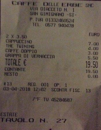 Castel San Gimignano, Italia: Price indicication