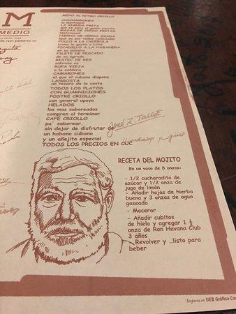El Menu Y El Mojito Picture Of La Bodeguita Del Medio Cuba Tripadvisor
