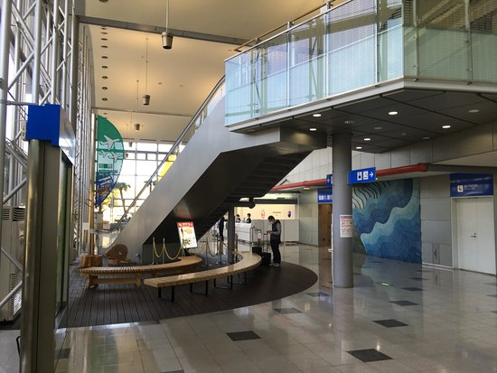 Shirahama-cho, اليابان: Airport arrivals area-tourism info is directly behind the photographer