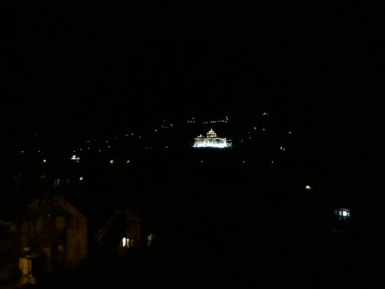 Night View, Panoramic view, Paro Dzong. Unrealistic lighting making pleasant night walk!