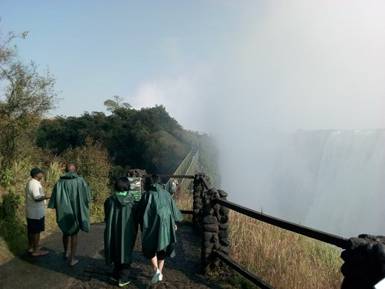 Livingstone, Zambia: View of Knife edge bridge at the Victoria Falls. Bridge connects the mainland to the headline