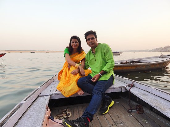 Myself and wife at the Ganges in Varanasi