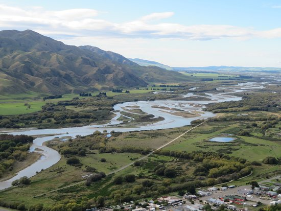 View of Waitaki braids river from Kurow hill