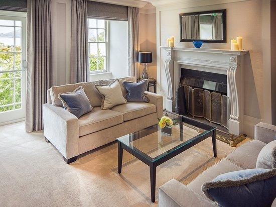The Samling Hotel: Lounge fireplace.