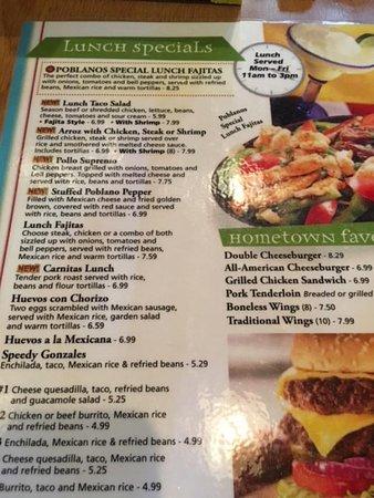 Rochester, IN: Poblano's lunch menu