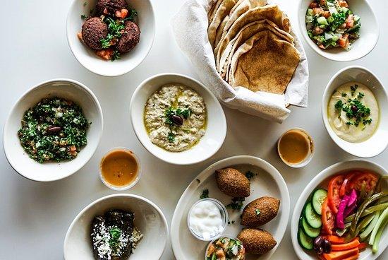 Aladdin's Eatery: Appetizer Spread, Aladdin's Hot Sauce