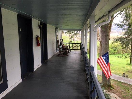 Rabun Gap, GA: our two entrance doorsand porch facing front yard of inn