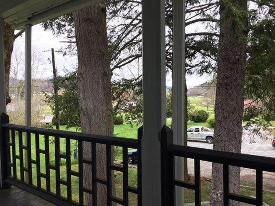 Rabun Gap, GA: view fropm procrch through big ol' evrgreens