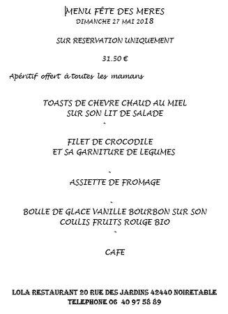 Noiretable, فرنسا: Menu spécial fête des mères, pour faire plaisir à toutes les mamans ! :)