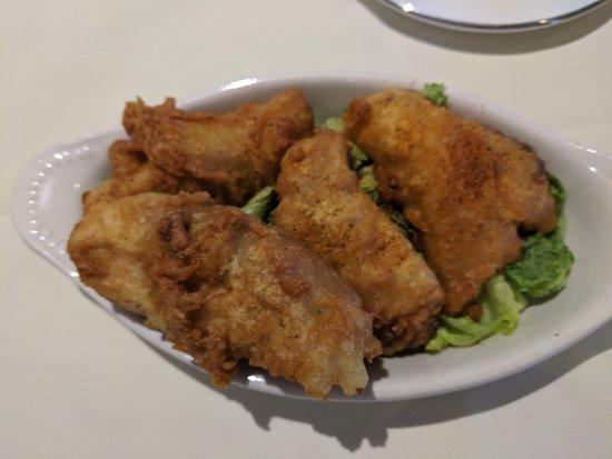 Rock Fish Bites (appetizer menu) on a bed of lettuce