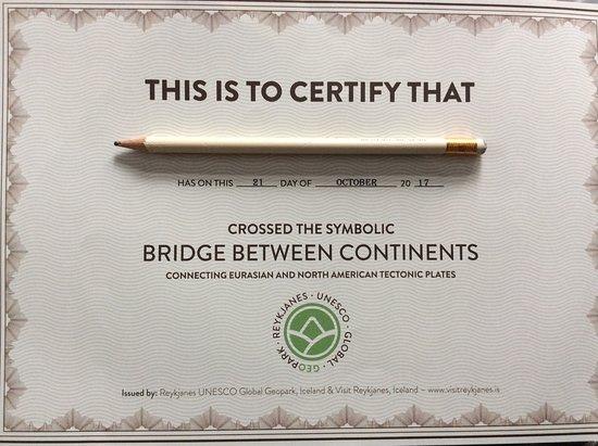 Péninsule sud, Islande : Certificate