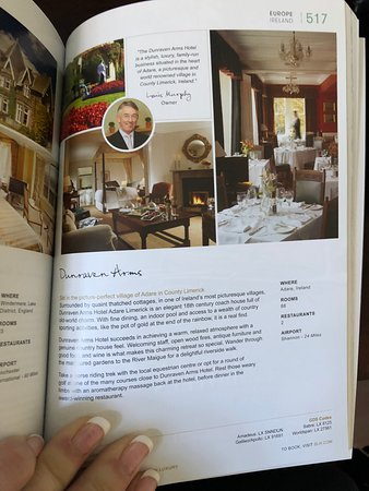 Dunraven Arms Hotel: Page from the book, Small Luxury Hotels of the World, that lists the Dunraven Arms