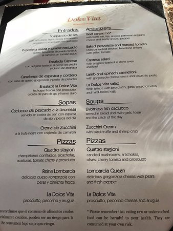 the best attitude 15853 7f257 Menu from Dolce Vita - Picture of Luxury Bahia Principe ...