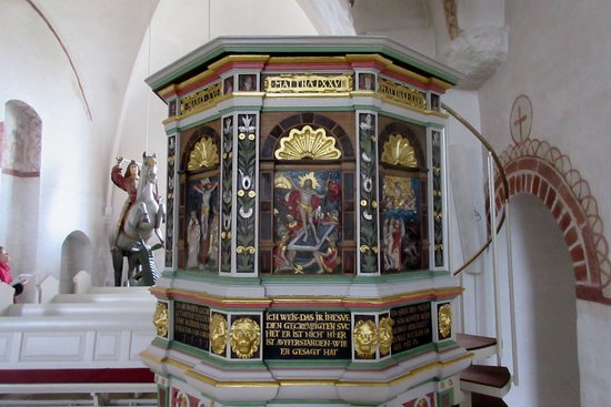 Broager, Danmark: Detalje af prædikestolen