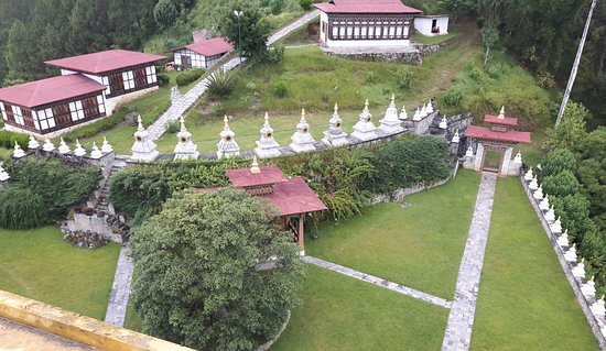 Wangdue Phodrang District, Bhutan: Bird View, North Punakha, 108 enlightened stupa and 8 kinds of Stupa