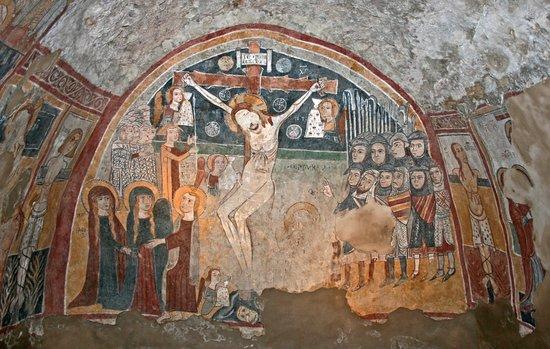 Oppido Lucano, Italy: S. Antuono, affresco della crocifissione.