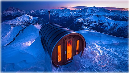 South Tyrol Dolomites, Italy: Sauna on Monte Lagazuoi in the Dolomites of Italy