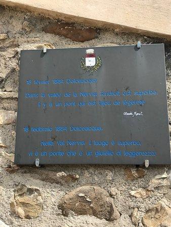 Liguria, Italia: la plaque indiquant que Claude Monet est passé par là.