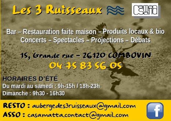 Auberge Des 3 Ruisseaux Carte De Visite