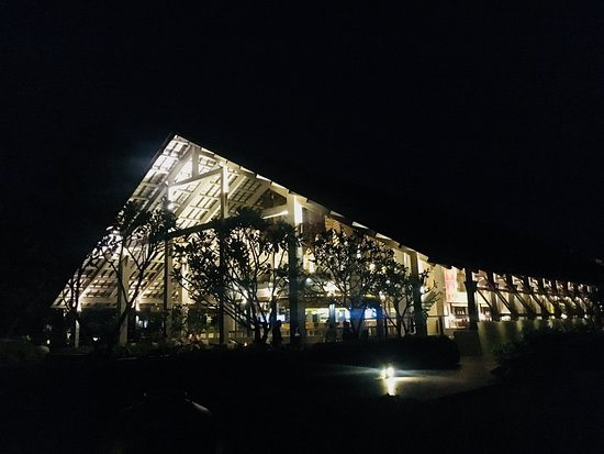 Beautiful view of the main building of the hotel at night.