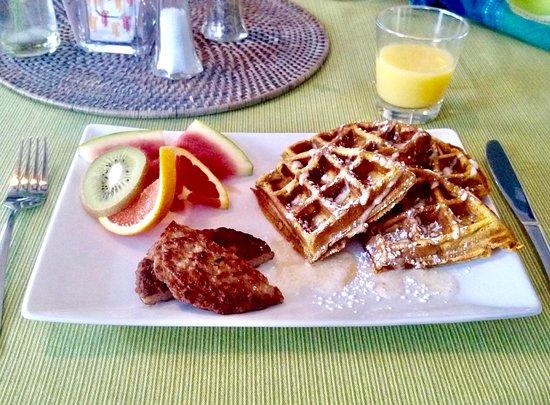 The Chadwick Bed & Breakfast: homemade pumpkin waffles with fresh cream