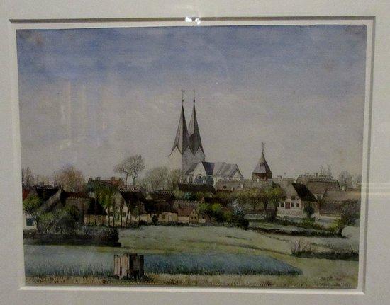 Broager Kirke1866. Lavet af O. D. Ottesen med blyant og vandfarve. Hænger på Brundlund Slot i Åb