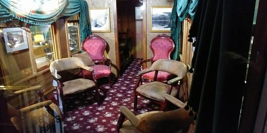 Durango and Silverton Narrow Gauge Railroad and Museum: Interior of a luxury car from years past