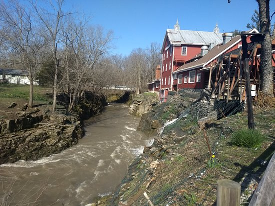 Swollen Clifton Gorge behind Clifton Mill