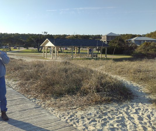 Camping At Huntington Beach State Park: Main Parking Area With Bathhouse, Picnic Tables And