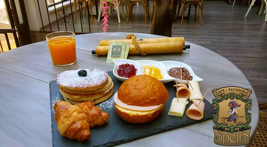 Breakfast at Spells Cafe Patisserie in Heraklion.