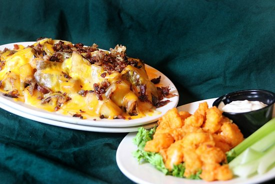 T Bonz Steakhouse of Augusta: Tommy Texas Cheese Fries & Shrimp App.