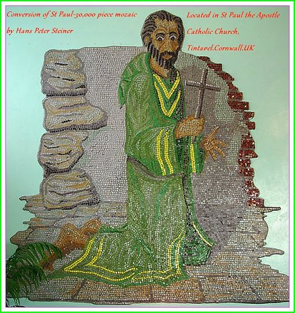 Tintagel, UK: 30,000 piece mozaic of St Paul by Hans Peter Steiner located in St Paul the Apostle Catholic Chu