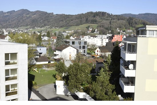 Widnau, Switzerland: Sight toward west, typical buildings around the hotel