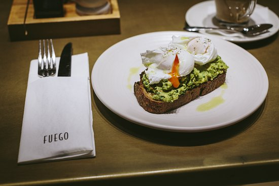 Fuego Breakfast - Crushed avocado on toasted sourdough with