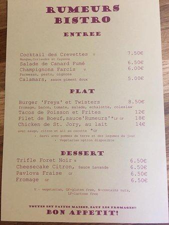 Mialet, France: Sample menu, changes weekly