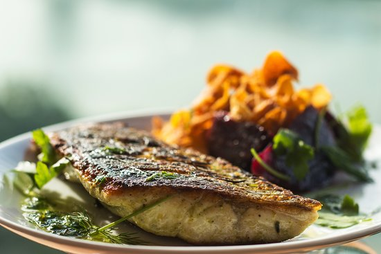 Mantis: Pan-seared sea bass. With a fresh side of beetroots and sweet potato chips