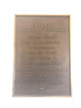 Palomar Mountain, CA: Caltech plaque