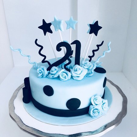 Baby Blue 21st Birthday Cake