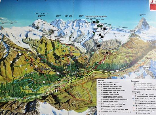 Tram Car Map - Picture of Matterhorn Glacier Paradise, Zermatt ... Zermatt Hotel Map on