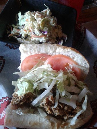 uncle T's Oyster Bar: My half a poor boy oyster sandwich and cole slaw