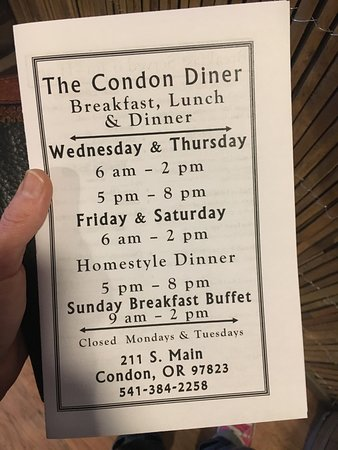 Condon, OR: Menu