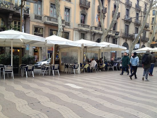 Las Ramblas Restaurants Line The Pedestrian Walkway