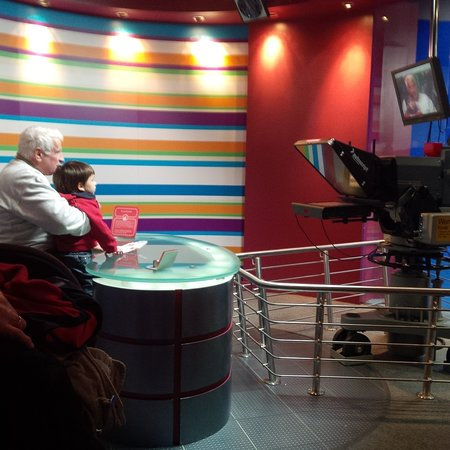 National Science and Media Museum: Pretending to read the news in the News Studio