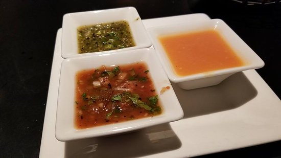 Javier's: Array of flavorful sauces including pureed habanero